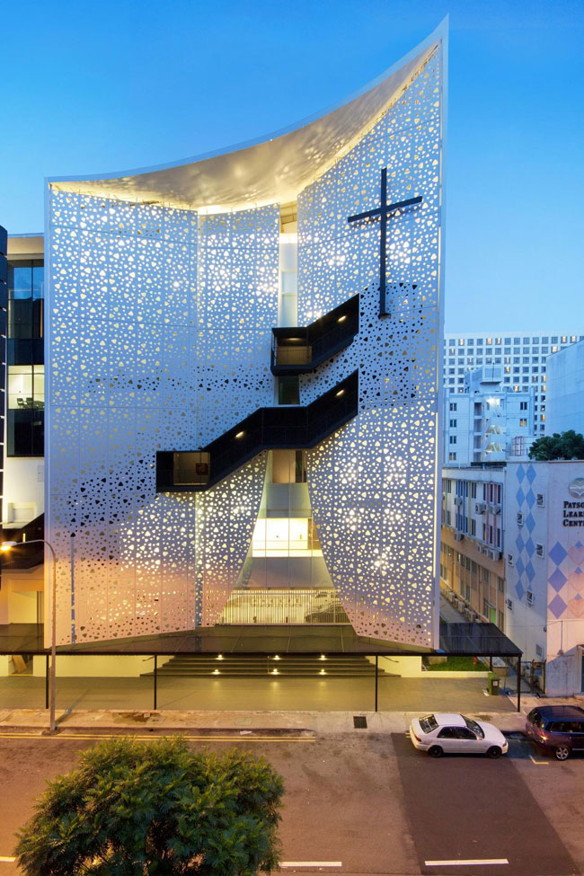 Aluminum facade and exterior staircases transform historic for Architecture companies in florida