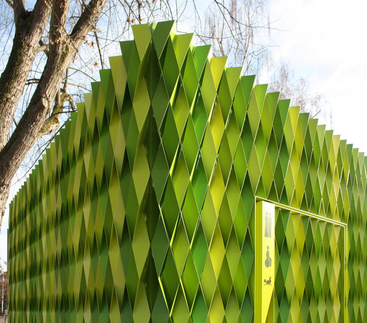 Green Aluminum Facade Transforms Public Toilets With Modern Design