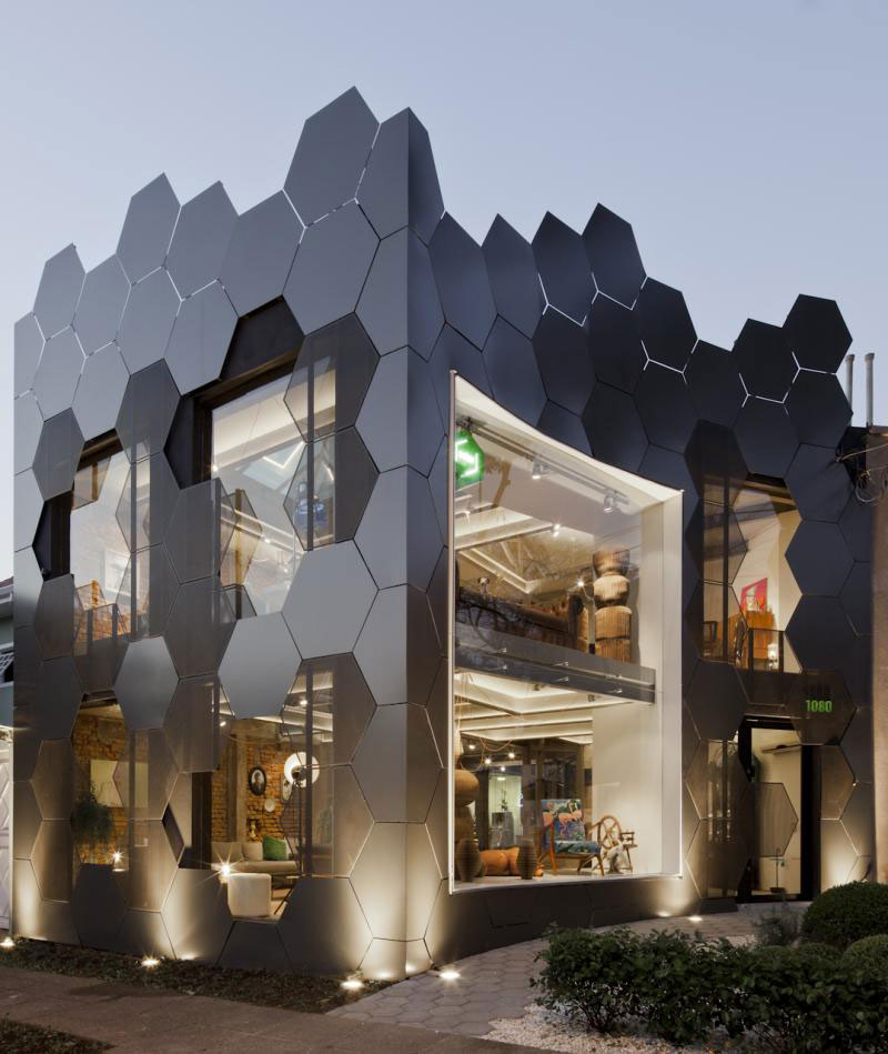 Front Elevation Of Furniture Showroom : Furniture showroom pops with metal honeycomb exterior design