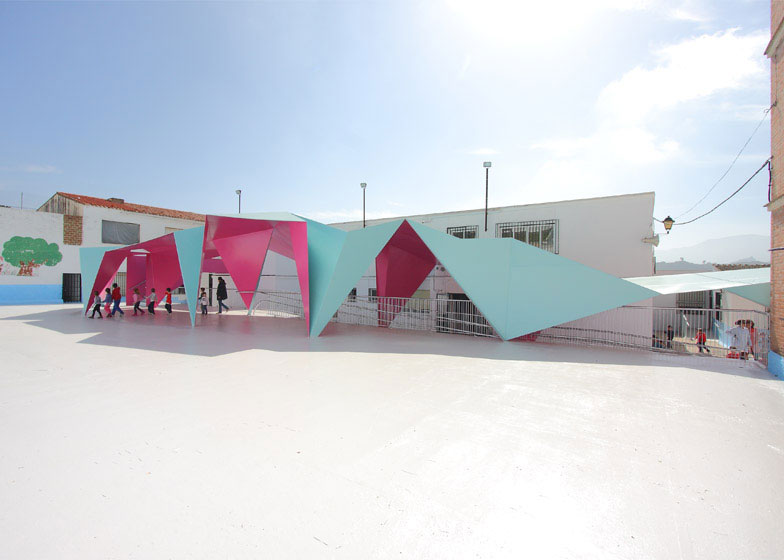 Painted Steel Playground Canopy Mimics Origami