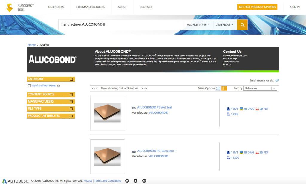 Alucobond BIM Autodesk Seek