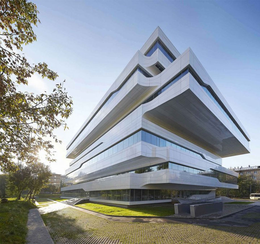 Zaha hadid designs commercial office structure clad in for Office design zaha hadid