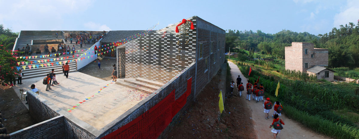 Rural Urban Framework, Hong Kong, Mulan Primary School Extension, Mirrored Ceramic Tiles, Dezeen