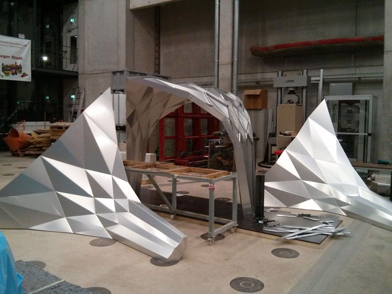 origami pavilion, tal friedman, germany, alucobond
