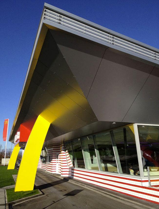 McDonalds Best, Netherlands, BRTArchitecten, Alucobond Silver Metallic