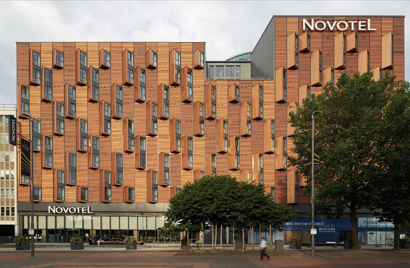 Novotel Wembley Olympic Way, London, HTA Design, Booth Muirie, Alucobond Spectra, Richard Gooding