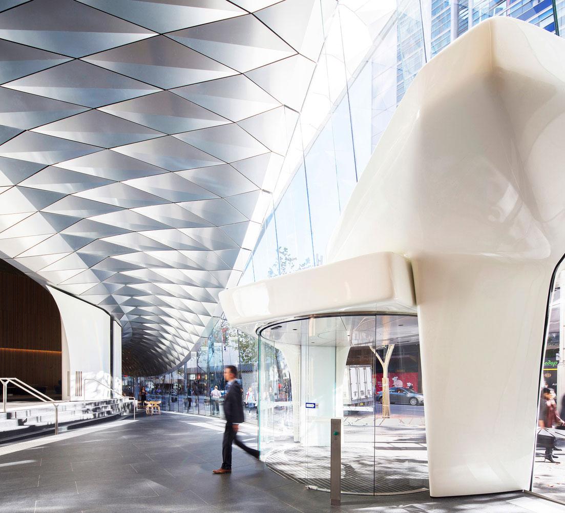 580 George Street, HSBC Building Foyer, fjmt studio, AR MA, Sydney, Australia, Alucobond PLUS naturAL Brushed, Photography Brett Boardman