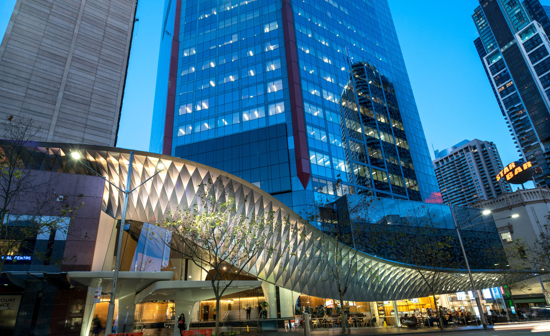 580 George Street, HSBC Building Foyer, fjmt studio, AR MA, Sydney, Australia, Alucobond PLUS naturAL Brushed, Photography Mike Chorley
