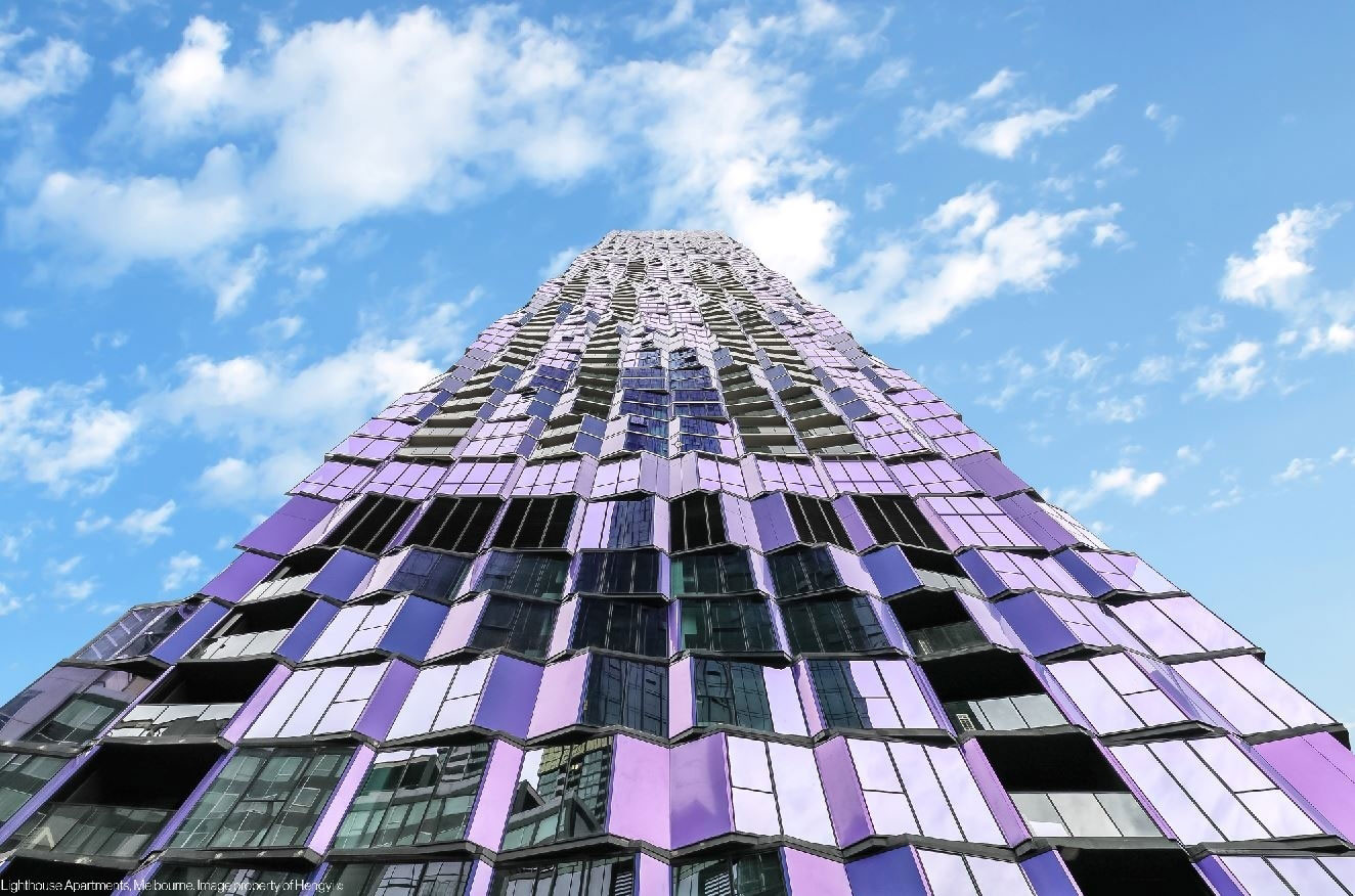 Light House Apartments, Melbourne, Elenberg Fraser, Hengyi, Alucobond Plus, Spectra Violet, Photography Hengyi